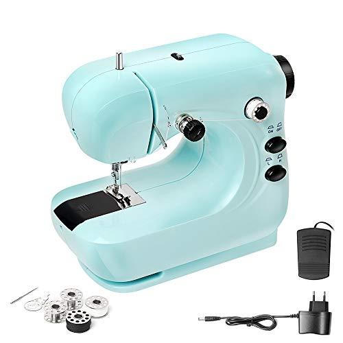 Mini Máquina DE Coser, Eléctrica Máquina DE Coser Portátil DE 2 Velocidades Herramienta DE Coser Multifunción Para El Hogar Con Pedal Para Principiantes (Azul)