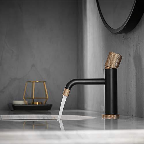 TIMACO Wasserhahn Bad Waschtischarmatur Kein Handgriff-Mischbatterie Badarmatur Waschbecken Badezimmer Schwarz und Gold