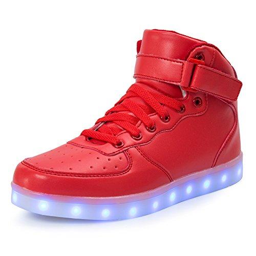 FLARUT Hoch Oben USB Aufladen LED Leuchtend Leuchtschuhe Blinkschuhe Sport Schuhe für Jungen Mädchen Kinder(32 EU,Rot)