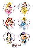 6 topper per torta con principesse Disney, decorazione dei dolci, a forma di cuore, su foglio di zucchero