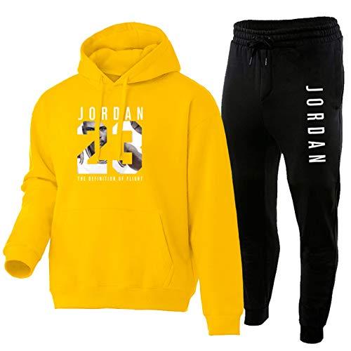NFNFNF - Conjunto de chándal completo para hombre y niño, 2 piezas, sudadera con capucha de deporte y jordano, color amarillo