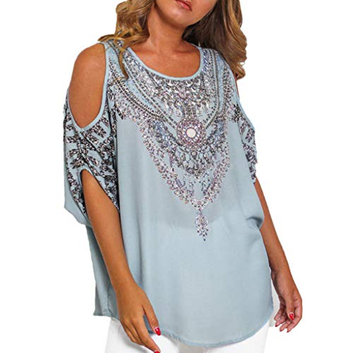 Best Review Of Lovor Women's T Shirt Summer Dolman Short Sleeve Cut Out Cold Shoulder Loose Fit Ethn...