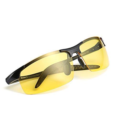 Myiaur Gafas polarizadas HD de la visión nocturna de Deportivas Style para conducir las gafas de sol antideslumbrantes de la lente amarilla 100% UVA UVB protection (negro, Amarillo)