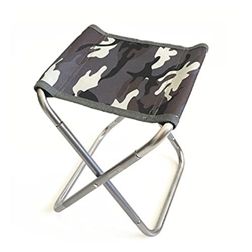 ASDFGHJK KANGYEBAIHUODIAN Aluminio Plegable Taburete Ligero Silla de Pesca al Aire Libre Mochila Plegable Camping Oxford Paño Pájaro Picnic Picnic Silla de Pesca (Color : M Camouflage Gray)