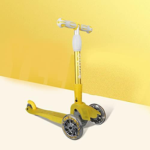 Roller für Kinder, LED-Leuchtroller, Kinder-Roller mit 3-Rad-LED-Lichtern, Verstellbarer Lenker mit Lenkung und...