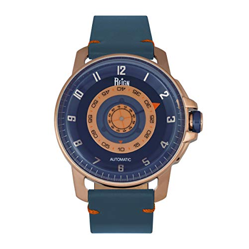 Reign Monarch - Reloj automático de cuero de cristal de zafiro con cúpula, Azul/Oro Rosa/Azul/Plata SKU: reirn5203, Correa