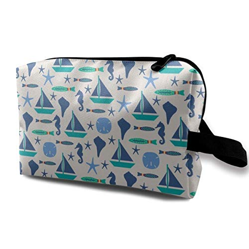 Beach Sailing Ivory Blue Med_819 Travel Cosmetic Bag for Women Cosmetic Makeup Bag Women Rose Gold