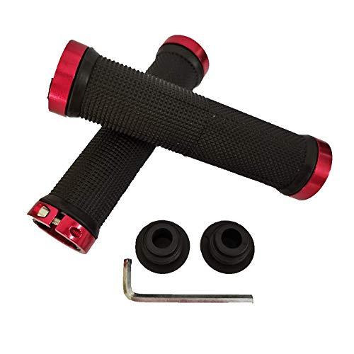 Outtag Bike Handbar Grips for Cycling MTB Mountain Road Folding Bike, 3D Surface Non Slip Soft Rubber Ergonomic Design Handle Bar (Red)