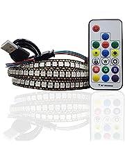 WS2812b RGB 144 LED Strips 5 V ws2812 Zwart PCB Multicolor 1 M IP30 Geen Waterdichte USB Strip Lichten met Afstandsbediening