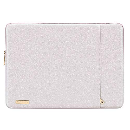 MOSISO Laptop Sleeve Compatible with 13-13.3 Inch MacBook Air/MacBook Pro Retina/2019 Suface Laptop 3/Surface Book 2, PU Leather Vertical Style Padded Bag Waterproof Case, Light Pink