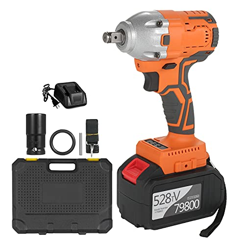 Ktoyols Cordless Brushless Impact Wrench 1/2 Inch 380Nm High Torque 6.0A Li-ion Battery Variable Speed Fast c-harger with Carry Box Socket for Home Motorcycle