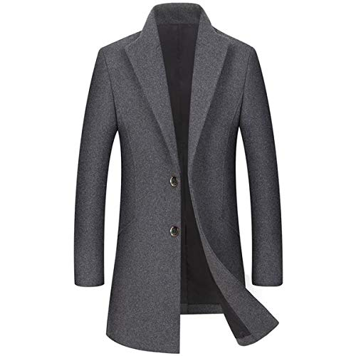 Allthemen mantel heren slim fit wintermantel lang zwart wollen mantel wintermantel met opstaande kraag Business Trenchcoat