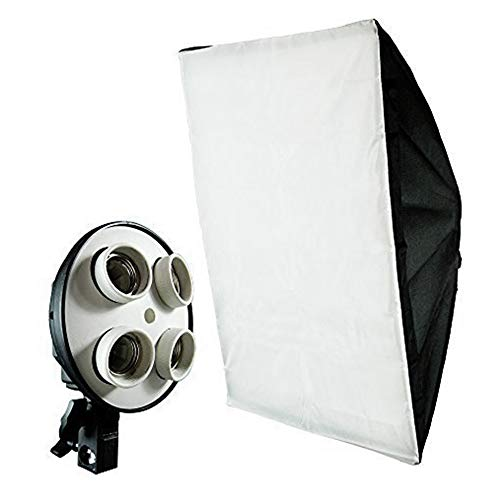 (50% Moving Clearance) Photography Studio 20 x 28 inch Light Soft Box Reflector with 4 Socket Light Bulb Adapter with External White Diffuser Cover, Photo Studio, AGG856