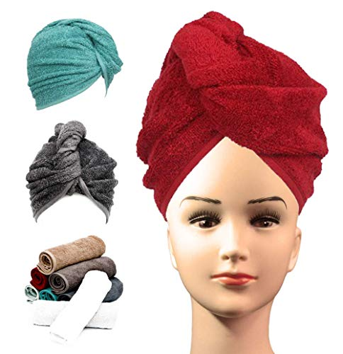 Luxury Hair Drying Wrap 100% Cotton Super Water Absorbent Quick Dry Caps Twist Turban Towel Dryer with Loop and Button Fastener Design – Size 62x23cm - Red