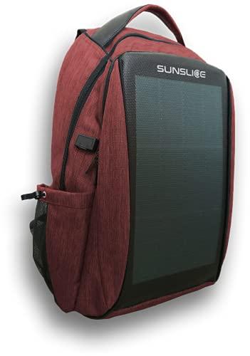 Mochila impermeable para portátil con panel solar integrado, para exteriores y para hombre y mujer, para cargar rápidamente dispositivos con un puerto USB externo., rojo,