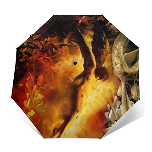 Waterdichte Reisparaplu voor Vrouwen Mannen Kinderen, Outdoor Paraplu's Versterkte Luifel 8 Ribs, Auto Open/open, Cool Smoke Skull Sexy Engel Regen & Wind Parasol