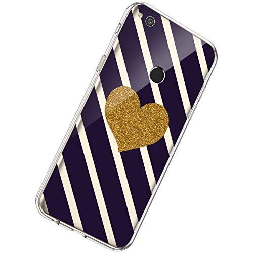 Herbests Funda Compatible con Huawei P8 Lite 2017, Funda Transparente de Silicona Suave Funda Ultra Delgada Elegante Crystal Clear Cárcasa TPU Bumper Antishock Cover Case, Amor