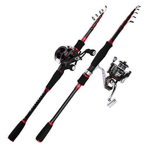ZFFDkk Caña De Pescar Telescópica Giratoria Ultraligera De Carbono para Carpa, Caña De Pescar,Aparejos Portátiles,caña De Pescar Y Carrete (Color : Spinning Rod, Length : 2.4 m)