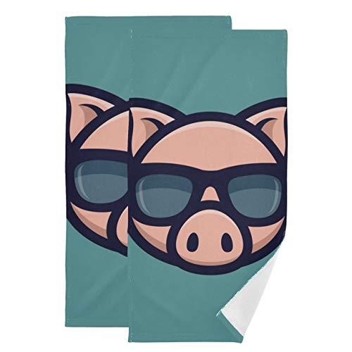 Juego de 2 Toallas Decorativas para baño Cool Pig Gafas de Sol Icon Piggy Head Toalla de Secado rápido Juegos absorbentes Suaves de Secado rápido Toallas de baño Adecuado para baño Cocina Aseo Playa
