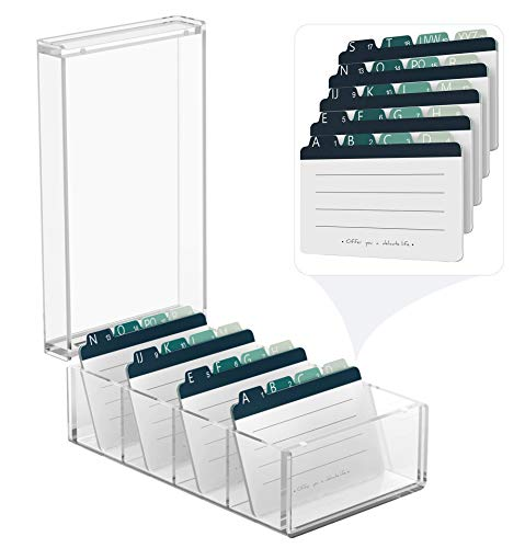 MaxGear Business Card Holder 3x5 inches Index Cards Organizer Box Desktop Card File Note Card Holders for Rolodex Clear Organizers,Acrylic, 4 Divider Boards for 600 Cards, A-Z Tabs,10 x 5.6 x 4 inches