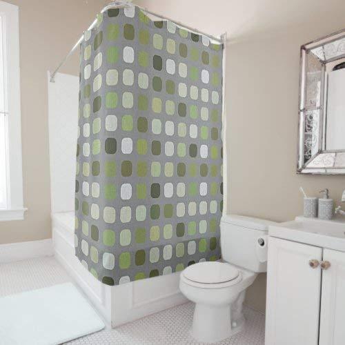 daoyiqi Duschvorhang mit 12 Haken, grauer Salbei, olivgrün, r&, quadratisch, Kunst-Duschvorhang für Badezimmer, Baddekoration, heller Stoff, mehrfarbig, 200 x 182 cm