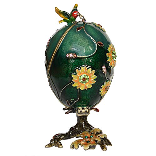 Minihouse Hummingbird on Faberge Egg Trinket Box Hinged Hand-Painted Enameled Figurine Collectible Jewelry Box Ring Holder, Unique Gift for Home Decor