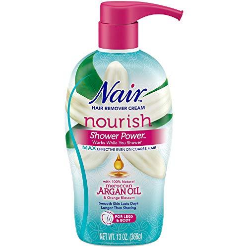 Nair Hair Remover Cream Nourish Shower Power Moroccan Argan Oil, 13 oz.