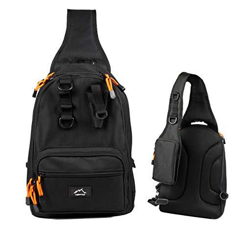 HETTO Angeltasche Sling Bag MOLLE Leicht Schultertaschen für Herren Nylon 1000D Gepolstert mit Handytasche Schulterrucksack Umhängetasche Angeln