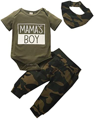 bebiullo Newborn Infant Baby Boy Daddy Mommy Boy Camo Bodysuit Shorts Pants Bibs Outfits Clothes product image