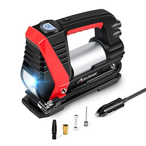 Tire Inflator Air Compressor, 12V DC Car Tire Pump with Fast Inflation (0-35Psi within 3mins), LED Light, Digital LCD Display, Auto Shut Off