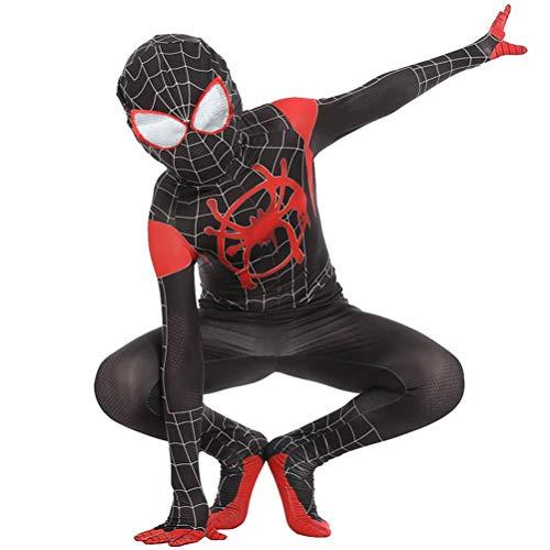 LGGQDC Niño Adulto Spiderman Miles Morales Disfraz 3D Disfraz de fantasía Vengadores Iron Spider Onesies Vacaciones Carnaval Disfraz de Fiesta Cosplay