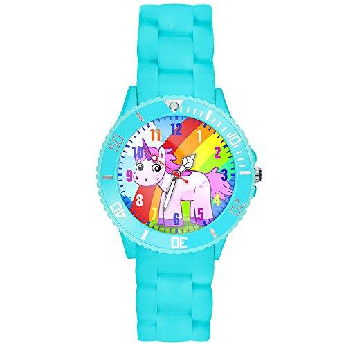 Taffstyle Kinder-Armbanduhr Analog Quarz mit Silikon-Armband Zahlen Einhorn Kinderuhr Lernuhr Sport-Uhr Rainbow Türkis