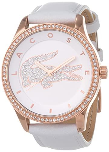 Lacoste Damen Analog Quarz Armbanduhr mit Lederarmband 2000821