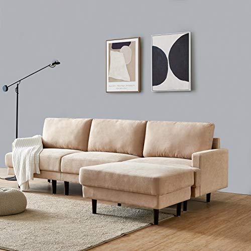 DADEA Ecksofa mit Schlaffunktion, Eckcouch Couch mit Schlaffunktion und Bettkasten Ottomane L-Form Schlafsofa Bettsofa Polstergarnitur, Modern Fabric Sofa, 3 Seater with Ottoman - 266cm