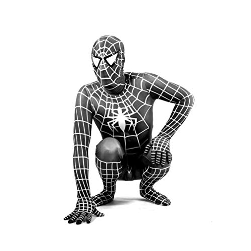 AMIMES Erstaunlich Spiderman Kostüm Erwachsene Kinder Schwarz Versatile Enge Bodysuit Anzug Superhero Movie-Thema-Partei Props (Color : Black, Size : M 120-140cm)