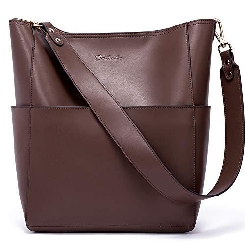 BOSTANTEN Women's Leather Designer Handbags Tote Purses Shoulder Bucket Bags Coffee