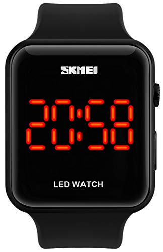Unisex Square LED Digital Watch Electronic for Men Watch for Women Student Silicone Watches (Silver)