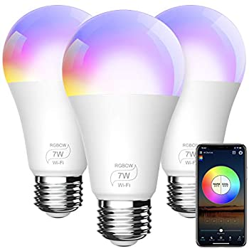 BERENNIS Smart WiFi Light Bulbs Color Changing LED Lights Work with Alexa Echo Google Home Siri and IFTTT No Hub Required A19 RGBCW 7W  60w Equivalent  3 Pack