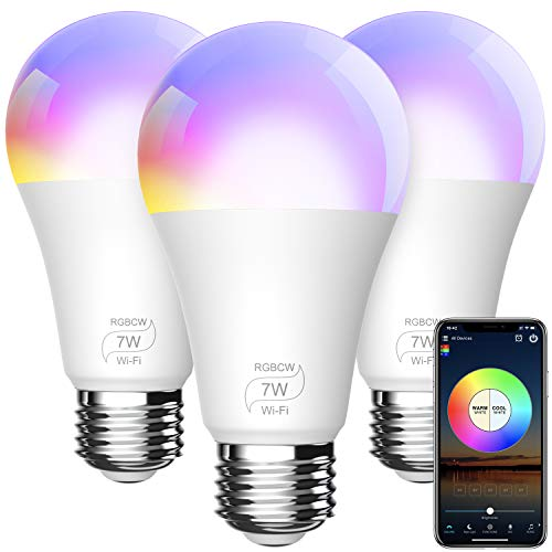 BERENNIS Smart WiFi Light Bulbs, Color Changing LED Lights, Work with Alexa Echo, Google Home, Siri and IFTTT, No Hub Required A19 RGBCW 7W (60w Equivalent) 3 Pack