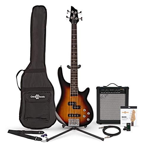 Chicago Shortscale-Bassgitarre Sunburst im Paket mit 35-Watt-Verstarker