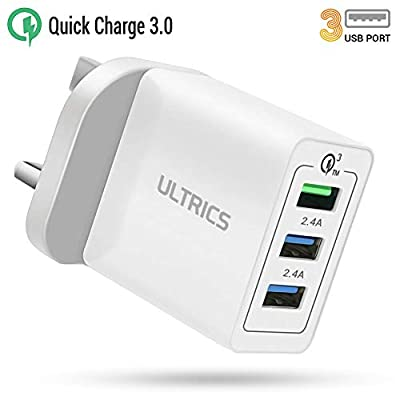 ULTRICS USB Wall Chargers, 3 Port 6A 30W USB Plug Chargers, Quick Charge 3.0 Mains Adapter Compatible with iPhone 12 Pro Max/ SE 2020/ 11 Pro/ XS, iPad Air, Galaxy S21 Ultra/ S20 Plus/ S10e, Note 20
