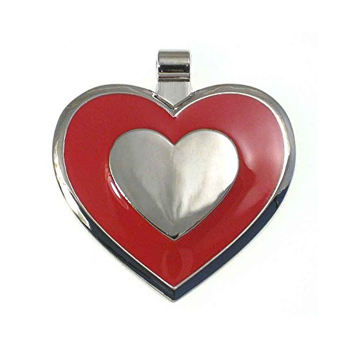 LuckyPet Pet ID Tag - Heart Shaped Jewelry Tag - Dog Tag & Cat Tag - Easy to Read Laser Engraving on The Back Side - Size: Large, Color: Red