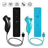 Lactivx Nunchuck and Wii Remote Controller Compatible with Nintendo Wii Wii U Console - with Silicone Case and Strap (Black and Blue)