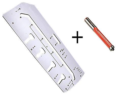 2 teiliges Set Frässchablone für Arbeitsplatten-Verbindungen + passenden Bündigfräser 12,7mm