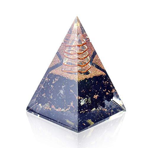 Orgone Pyramid-Black Tourmaline-Crystal-Chakra Balancing Orgone Energy Generator- Nubian Orgonite Pyramid for EMF Protection – Healing Crystal Boost Immune System Meditation