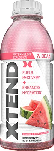 XTEND On The Go, Branched Chain Amino Acids, Bcaas, Zero Sugar Hydration & Muscle Recovery Drink with Electrolytes, Watermelon Explosion, 16.9 Oz Bottles (Pack of 12)