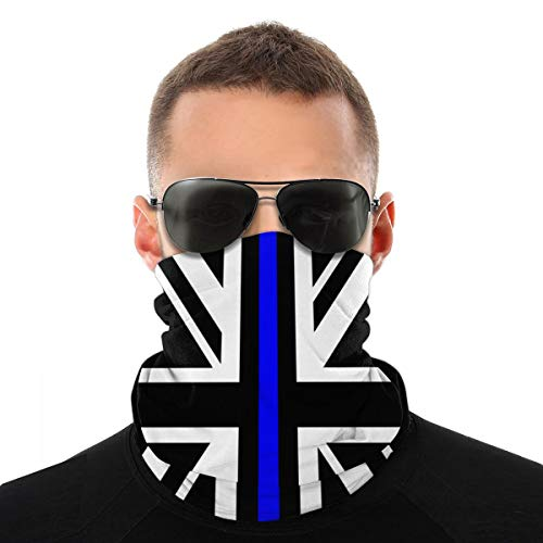 Union Jack Thin Blue Line Adults/Teens Multifunctional Face Scarf Sun Protection Neck Gaiter Classic Fashion Head Scarf Anti Dust Bandana for Outdoors Festivals Cycling Sports