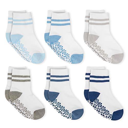 Anole Kids Athletic Socks - 6 Pairs - Boys Girls Grip Non Slip/Anti Skid Mini Crew (Boys, 8-10 Years)