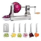 WellToBe Spiral Vegetable Slicer, 6 Blade Stainless Steel Vegetable Spiralizer, One-hand Veggie...