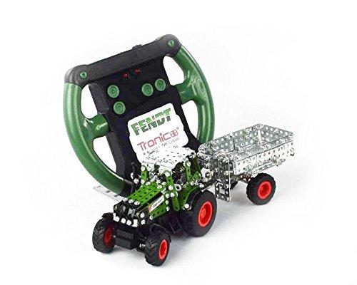 Tronico 09521 - Metallbaukasten Traktor Fendt 800 Vario mit Kippanhänger und Fernsteuerung, Maßstab 1:64, Micro Serie, grün, 451 Teile*